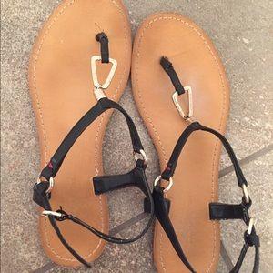 Tommy Hilfiger black sandals with gold metal